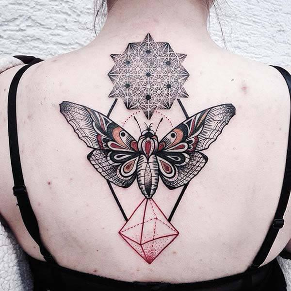 aesthetic geometric back tattoo design for women