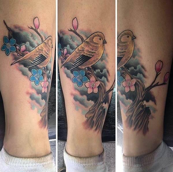 wonderful bird tattoo design on leg for girls and women