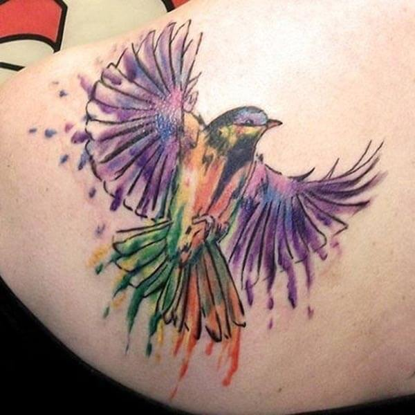 flamboyant watercolor bird tattoo design on ehlombe emuva for Girls