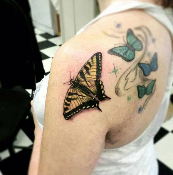 realistic butterfly tattoo design on back shoulder for girls