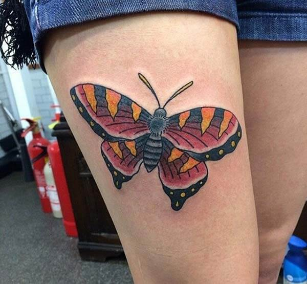 beautiful butterfly tattoo design on thighs for girls