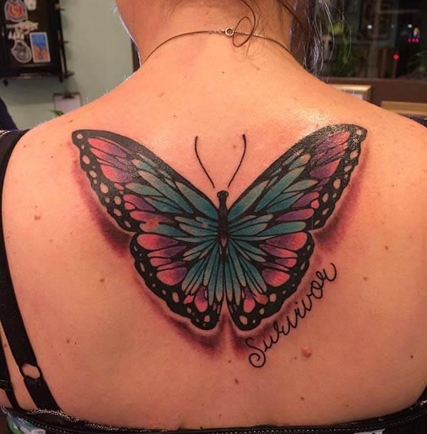 tatouage de papillon flamboyant brillant sur le dos pour les filles et les dames