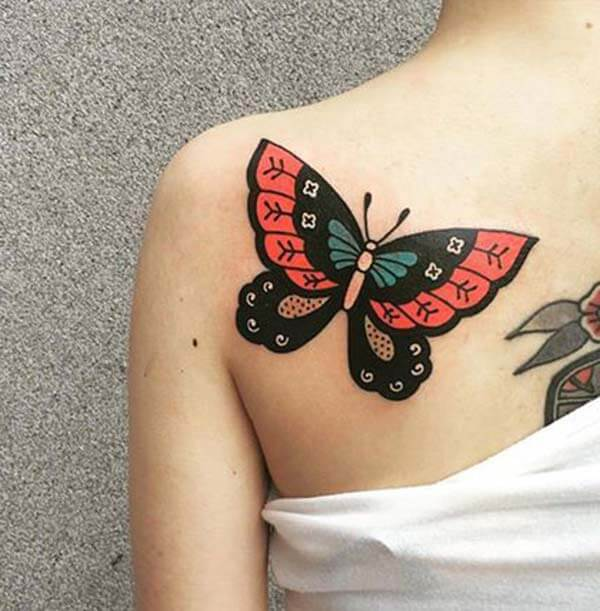 striking black red butterfly tattoo design on back shoulder for Girls