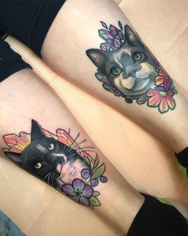 fantastic cat tattoo design on both legs for girls and women