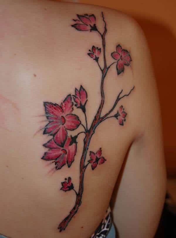 appealing cherry blossom tattoo design on back shoulder for Girls