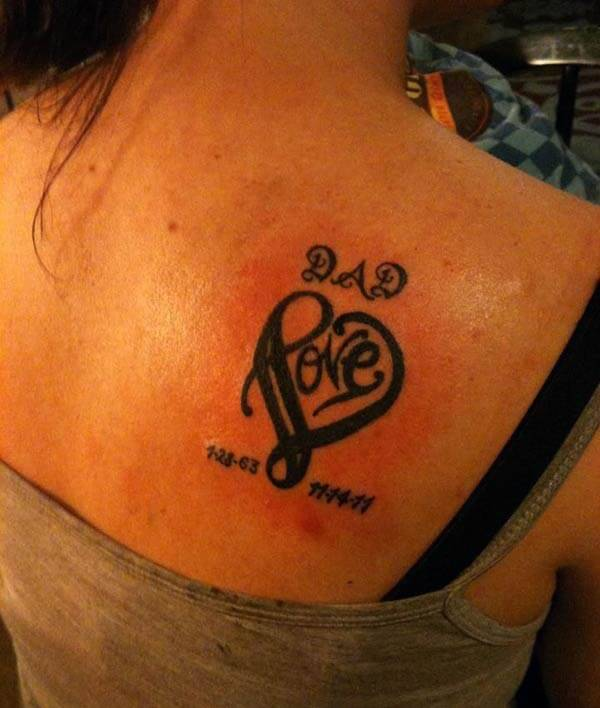 pure love for dad is shown on this RIP tattoo design on back shoulder for girls
