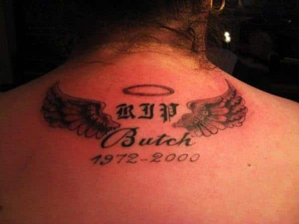 pretty RIP tattoo on back neck for girls and ladies