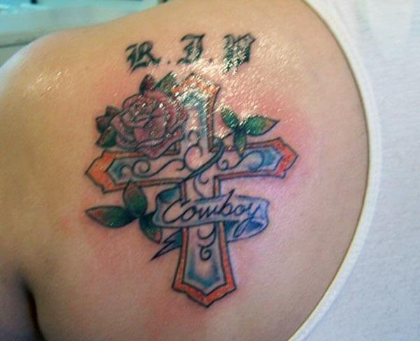 delightful RIP tattoo design on back shoulder for girls and ladies