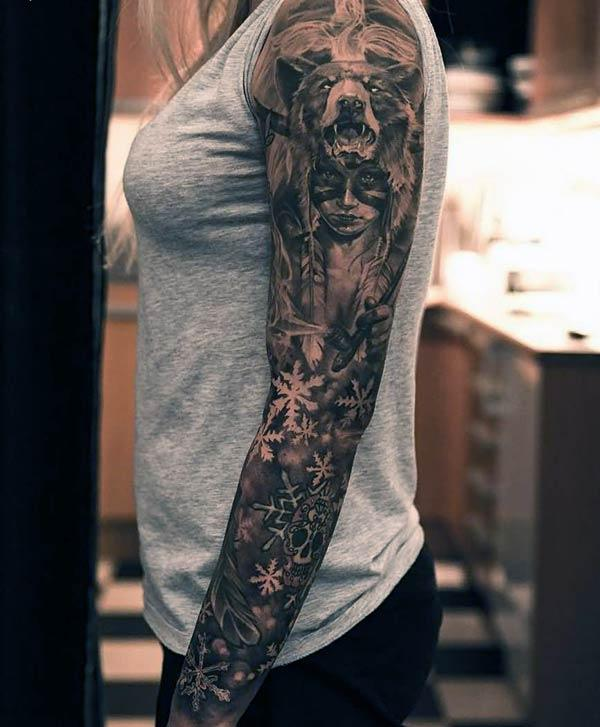 spellbinding tattoo made of fusion of creativity on full arm