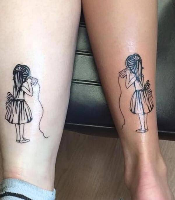 charming girl tattoo ideas on calf for best friends