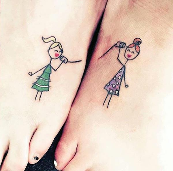 pretty colorful best friend tattoo ideas on feet for friends