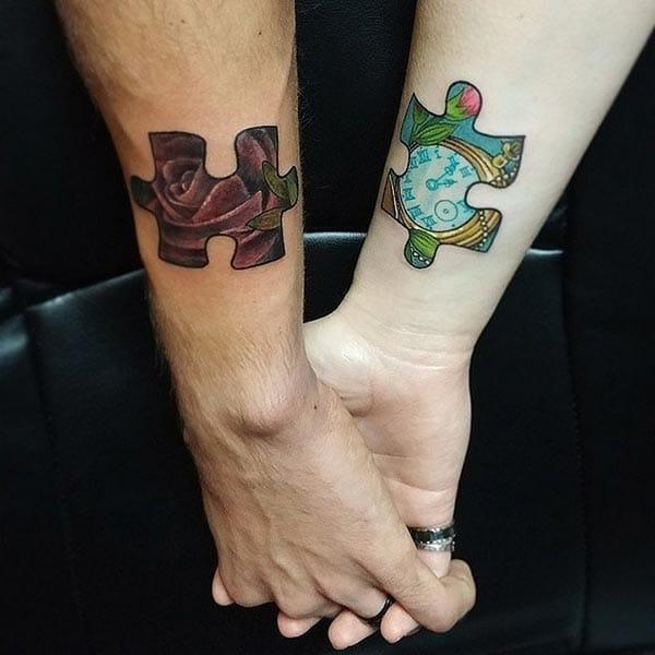 An appealing couple tattoo designs for lovers on forearm