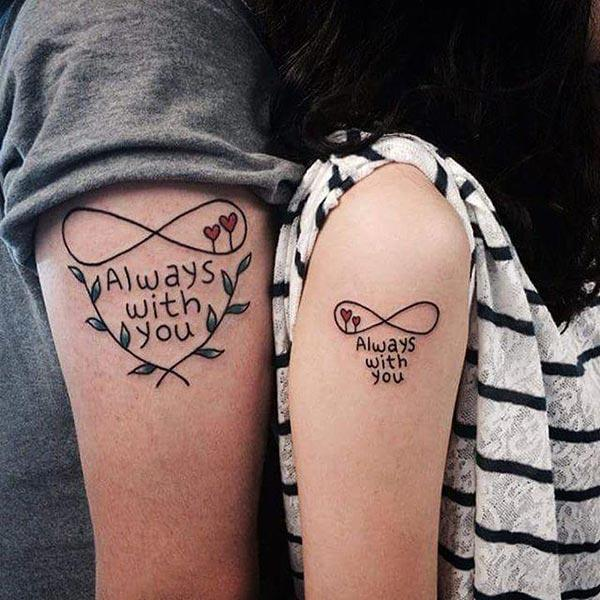 A simple awesome couple tattoo design for lovers