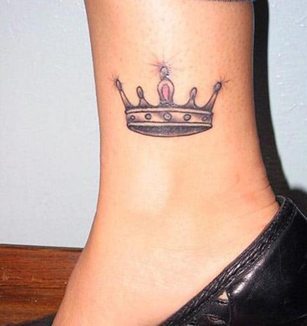 An exquisite sparkling crown tattoo design on ankle for Ladies