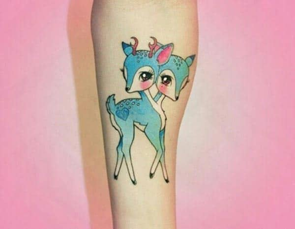 A ravishing blue deer tattoo design for Girls