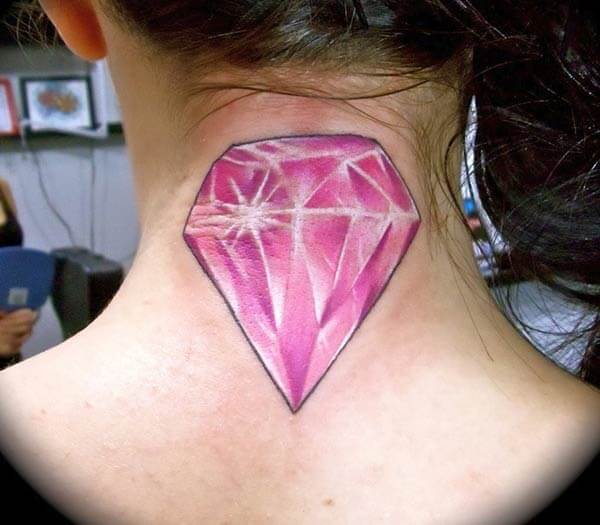 A glowing pink diamond tattoo on back neck for Girls and women