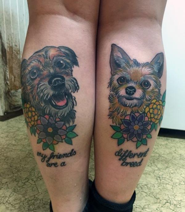 A charming and loving dog tattoo design on calf for Girls