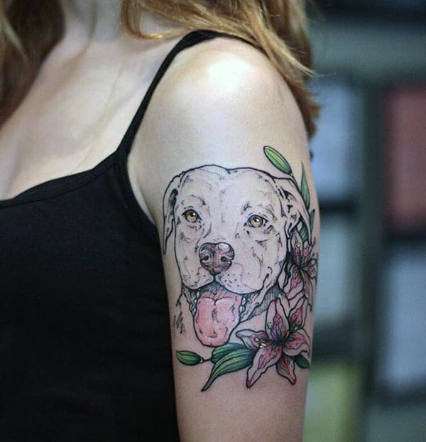 A striking dog tattoo design on shoulder for Girls and women