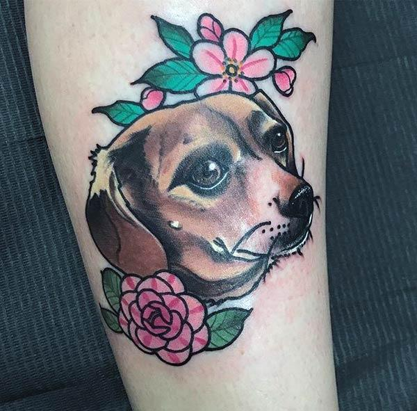 A lovely dog tattoo design on leg for Girls and women