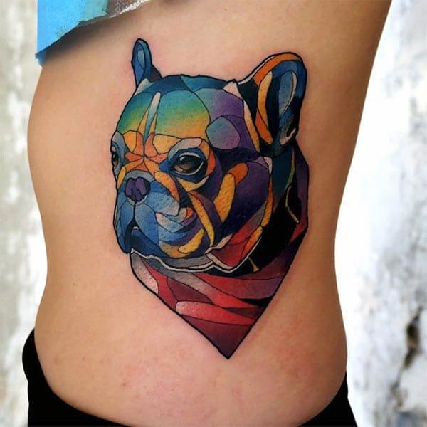 A vibrant and stylish dog tattoo design on side belly for Girls and ladies