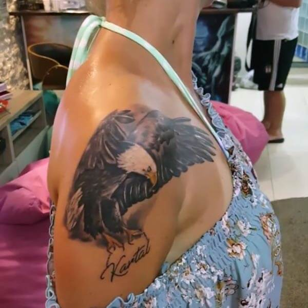 A realistic eagle tattoo design on shoulder for Girls and women