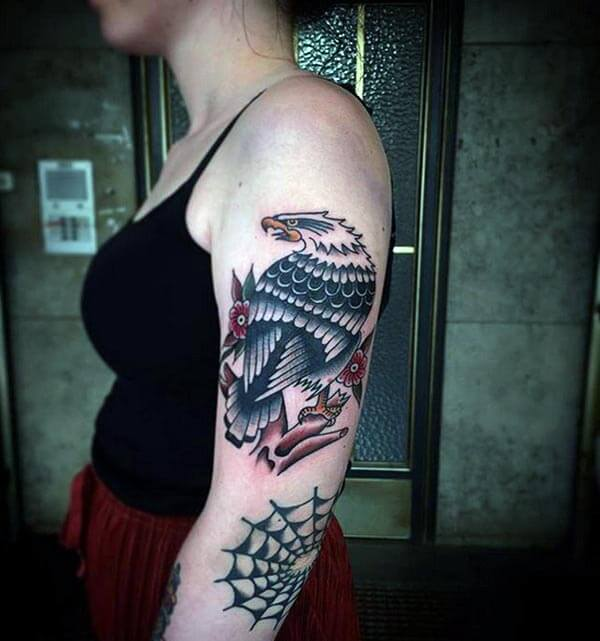 A captivating eagle tattoo design on arm for girls and women