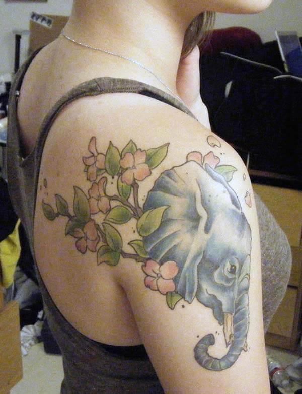 A lovely elephant tattoo design on shoulder for Girls