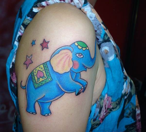 A cute and adorable elephant tattoo design on shoulder for Girls and women