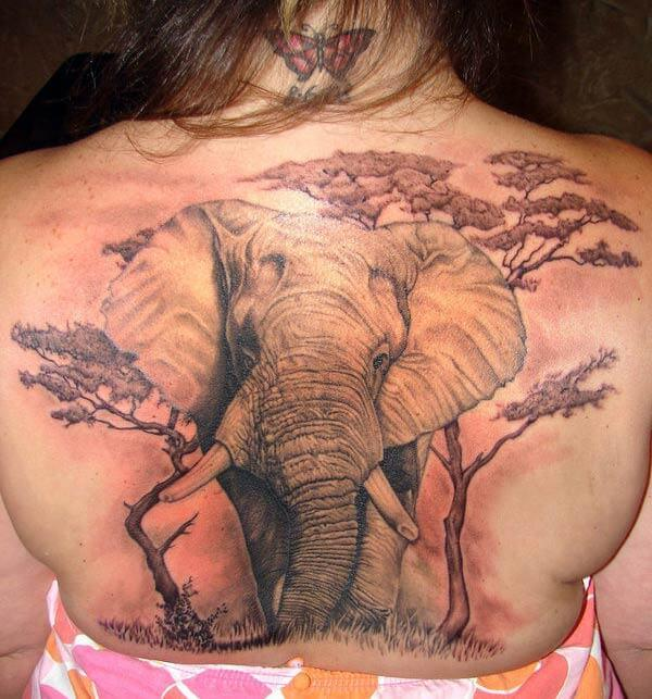 A magnificent elephant tattoo design on back for women