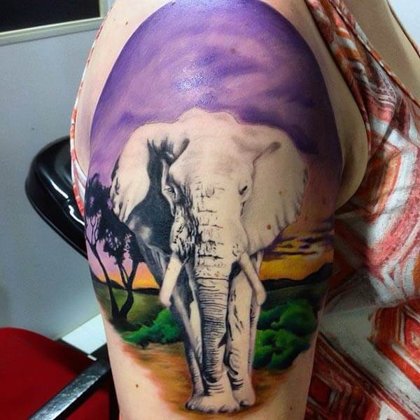 A breathtaking elephant tattoo design on shoulder for Girls and women