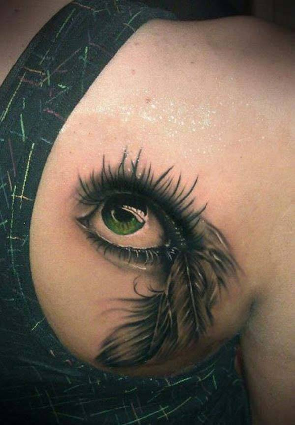 A captivating eye tattoo design on back shoulder for Women