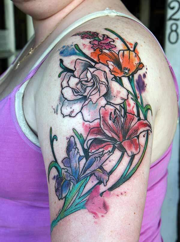 A vivid bouquet of flower tattoo design on shoulder for Women