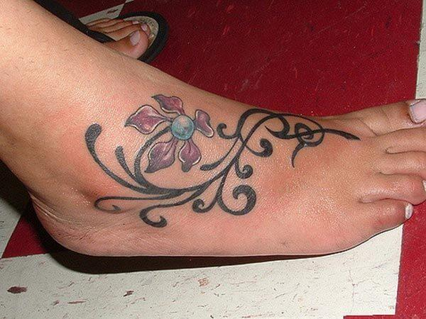 A pretty foot tattoo design for Girls and women