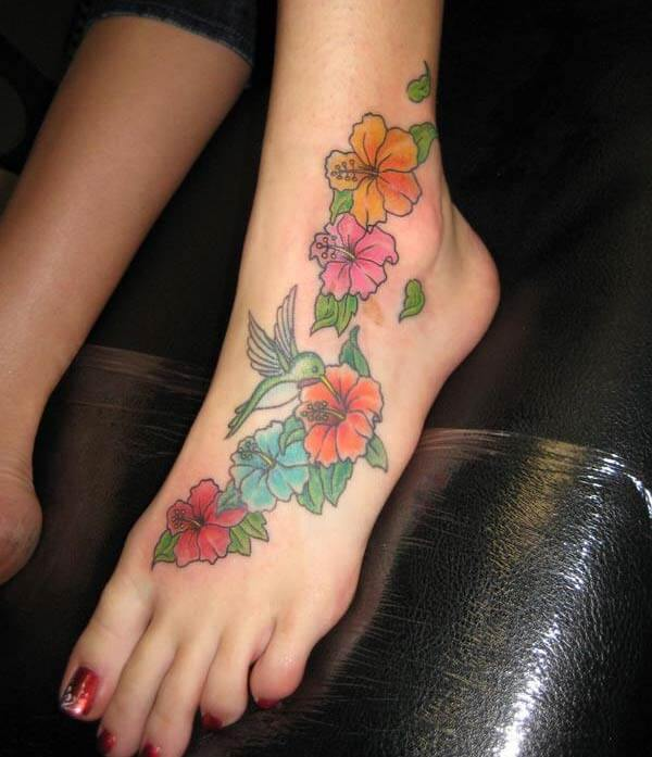 A heartwarming foot tattoo design for Girls