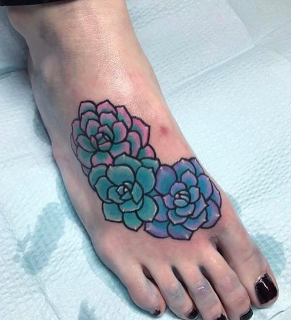 A stylish foot tattoo design for women