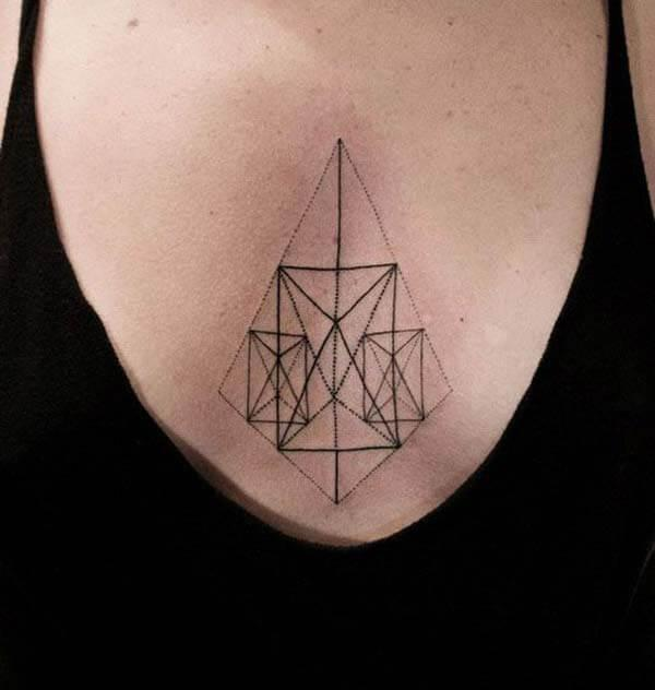 A classy geometric tattoo design on chest for Girls and women