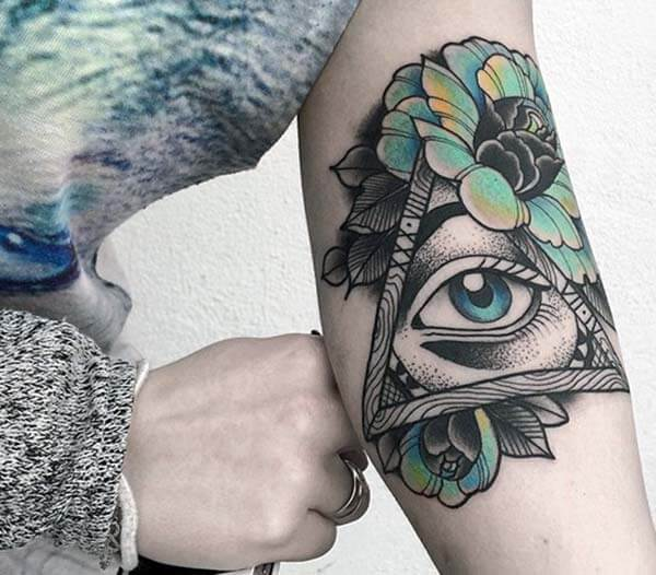An attractive geometric tattoo design on forearm for women