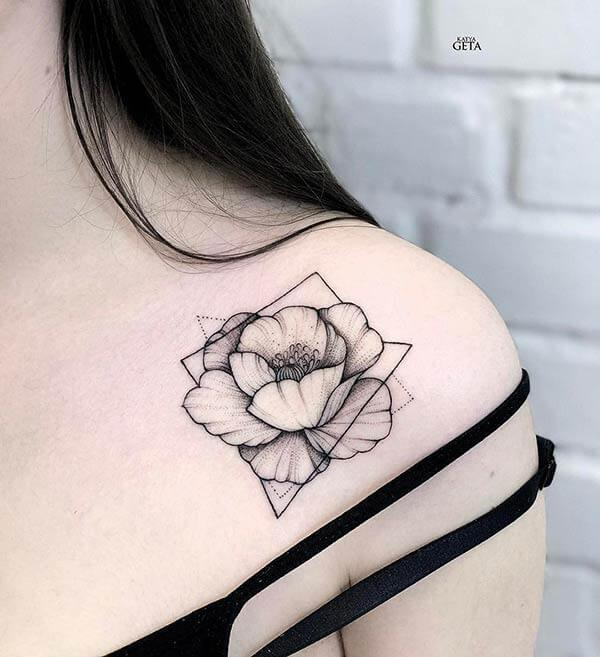 An exquisite geometric tattoo design on side shoulder for Women