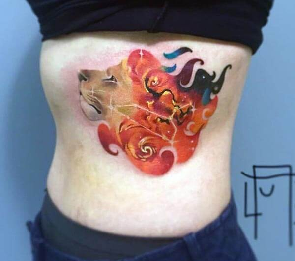 A mystique lion tattoo design on side rib for girls