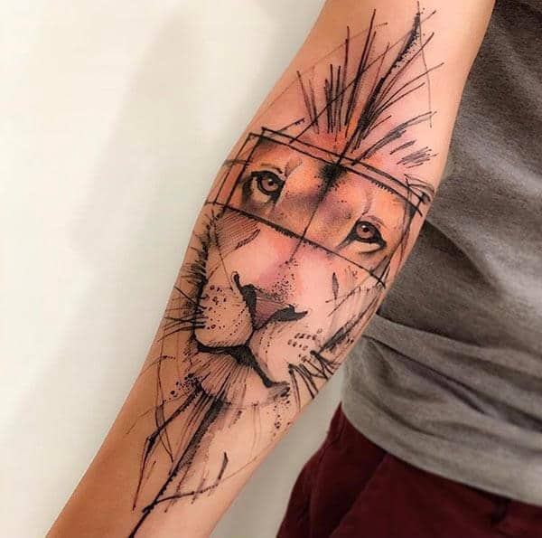An aesthetic lion tattoo design on forearm for Women