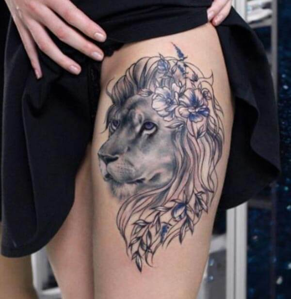 A sexy lion tattoo design on thigh for Girls and women