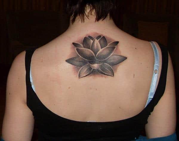 An amazing lotus tattoo design on Girl's back