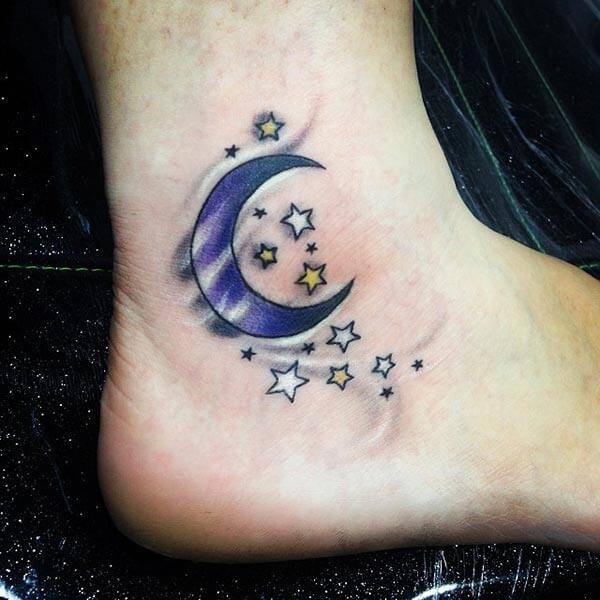 A magical moon tattoo design on ankle for girls