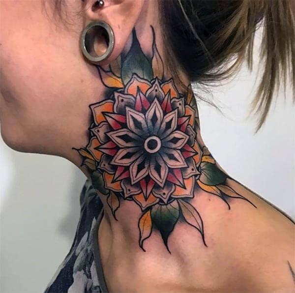 A striking neck tattoo design for Women