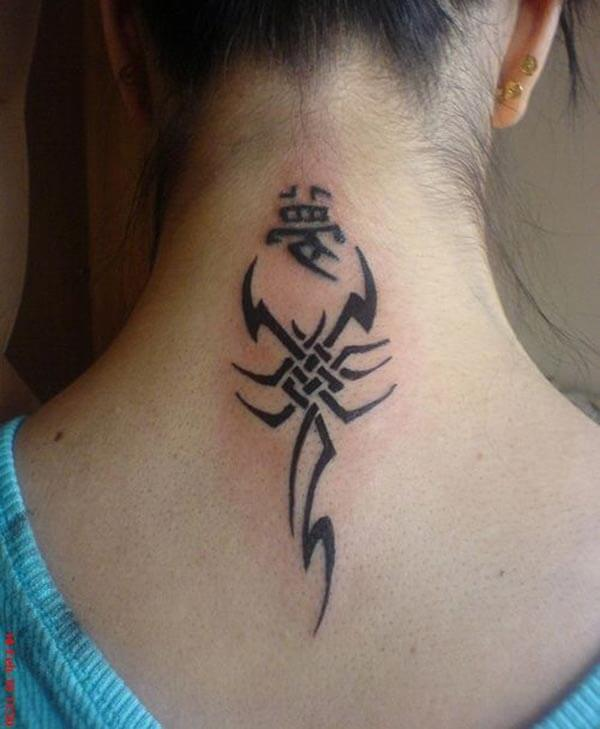 A unique scorpion tattoo design on back for ladies