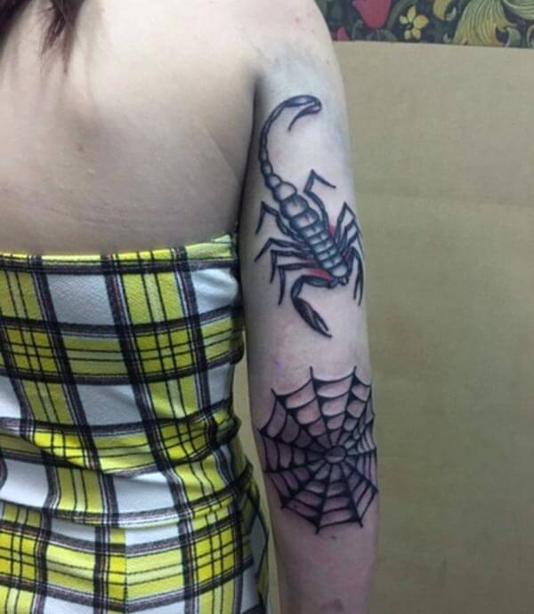 A delightful scorpion tattoo design on forearm for ladies