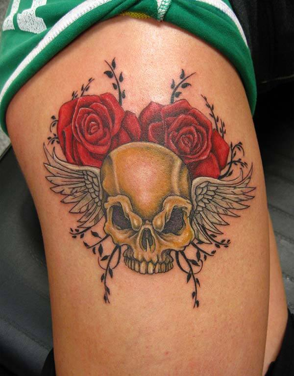 A mesmerizing skull tattoo design on arm for Ladies and girls