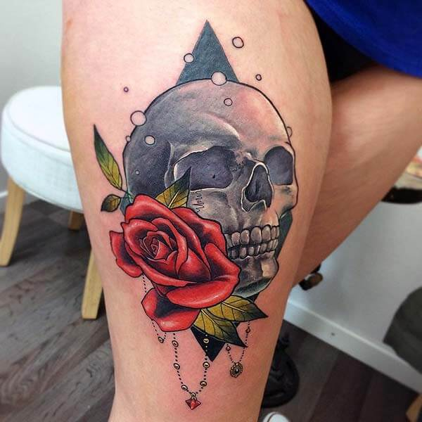 An elegant skull tattoo design on thigh for Ladies