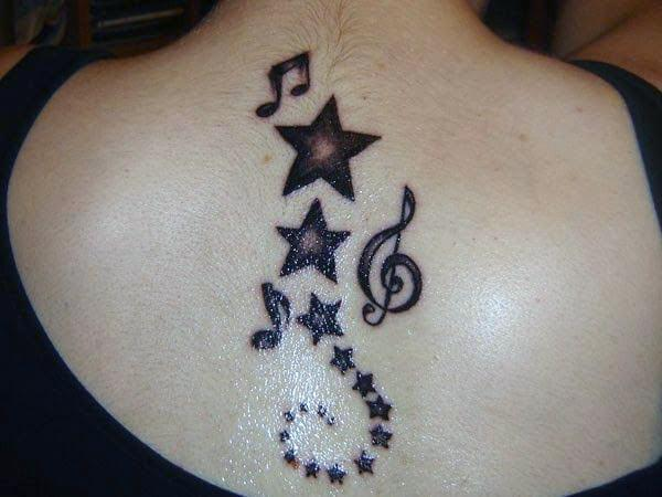 A bold star tattoo design on back for women and girls