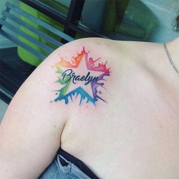 A cool star tattoo design on side shoulder for girls and women